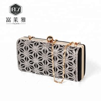 Elegance diamond evening crystal clutch bag with chain