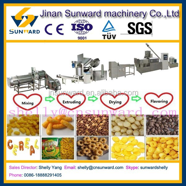 Hot sale snacks machines, corn flour snack extruder machine, snack food equipment/procesisng line