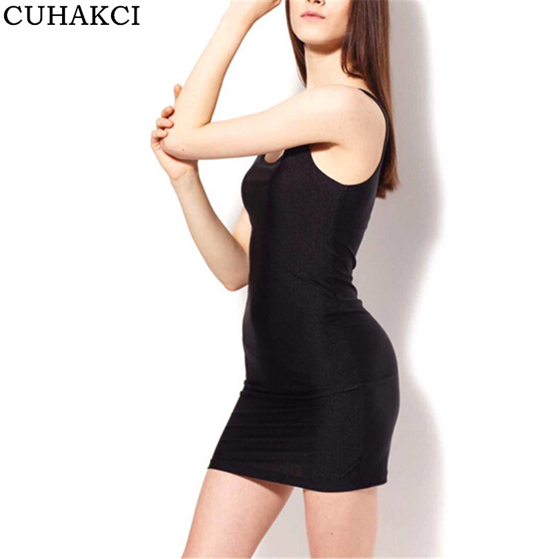 Sexy Women Gloss Sleeveless Bodycon Mini Dresses Slim Fitted Black Short Tight Vest Dress