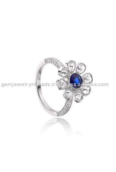 2017 Hot Indian Latest Blossom Flower Cutting Diamond Blue Sapphire Wedding Bridal Ring Jewelry for Women