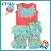 Pestal Pink Aqua Flower Girls Summer Top & Short Set Baby Clothes Wholesale Price Girl Boutique Outfit