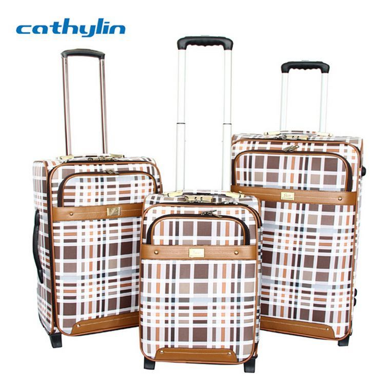 Trolley PU leather luggage case hand luggage with wheels