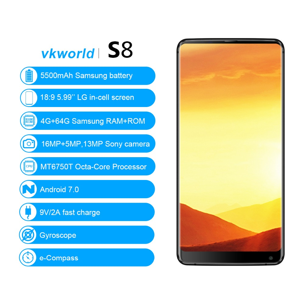 New Arrival original mobile phone VKworld S8, 4GB+64GB MTK6750T Octa Core 4g android mobile phone Make Your Own Phone