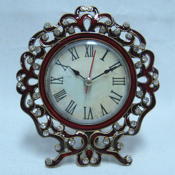 Vintage Gold Burgundy Enameled and Clear Crystals Jeweled Table Clock