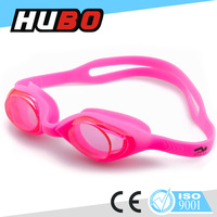 HUBO hot sale pink colorful PC mirror lens funny cartoon kids swimming goggles