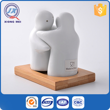 Lovely shaped hug porcelain white restaurant salt and pepper shakers