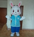 Blue shirt rabbit mascot costume for adult