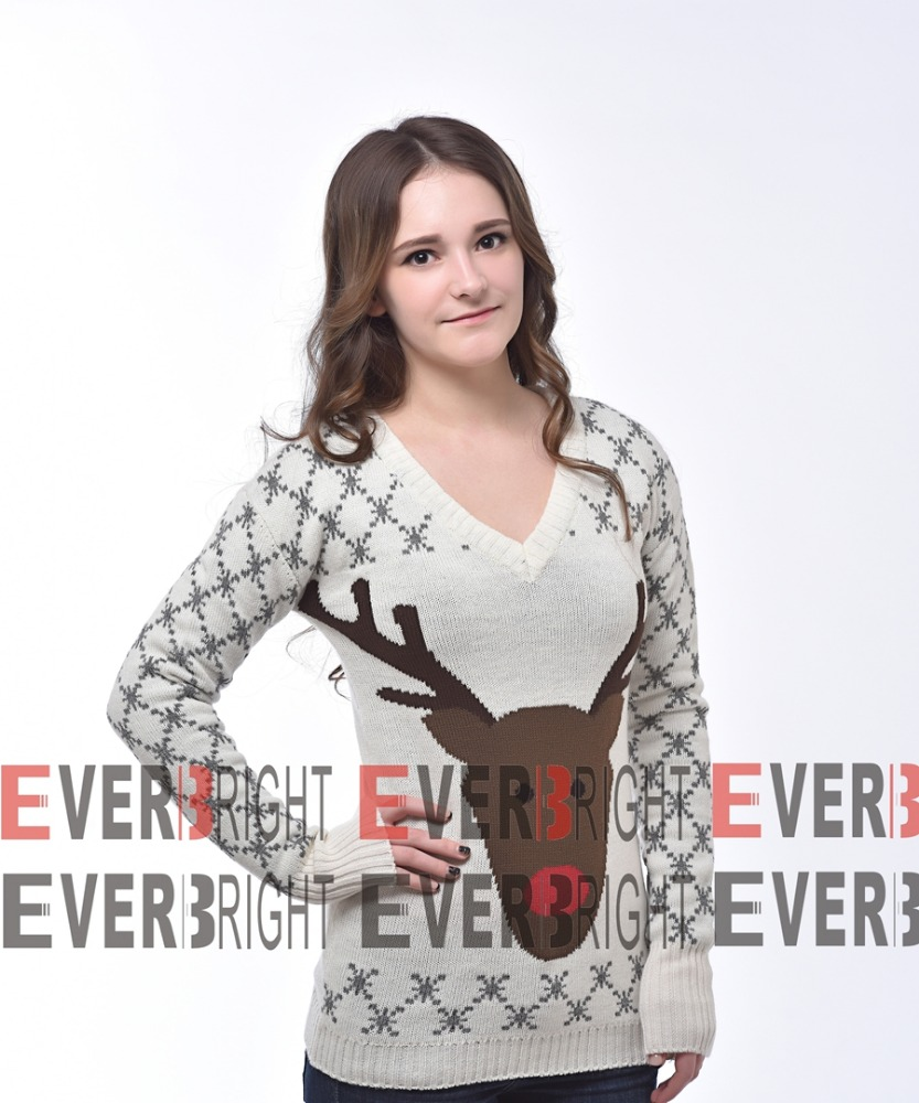 christmas reindeer jacquard design women pullover sweater