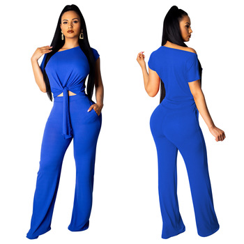 Casual Two Piece Set Crop Top And Wide Leg Pants Fall Sexy 2 Pieces Outfits for Women Clothing Set Y11723