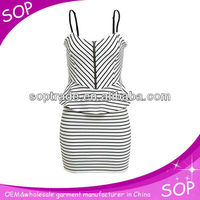 Mini striped peplum pencil dresses for ladies spaghetti strap dress