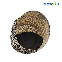 Leopard print round wear-resisting pet house tent with cotton mattress