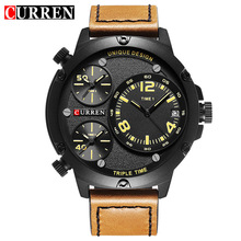 CURREN Mens Quartz Watch Multiple time zones watches Top Luxury Brand sports Wristwatch 8262