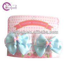 lovely satin ribbon bow with plastic kids hair pins for girl