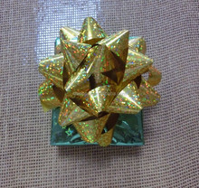 holographic star bow, metallic star bow