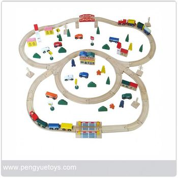 Wooden model railway train set Funny children's games for sale
