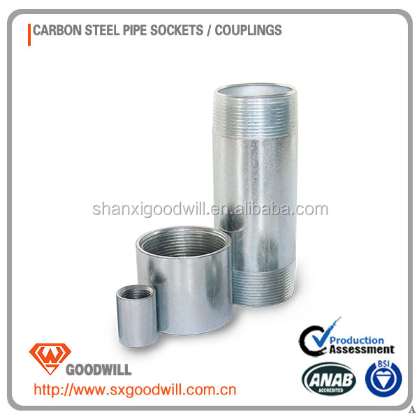 Galvanized concrete pump snap coupling sockets and nipple