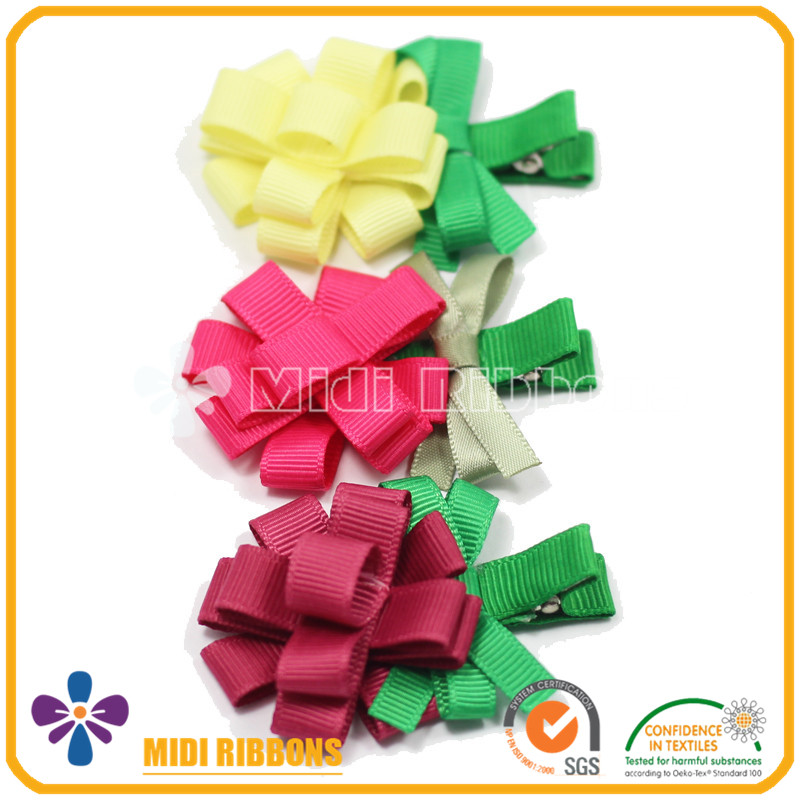 Fancy Ribbon Flower Alligator Hair Clips For Children Girl