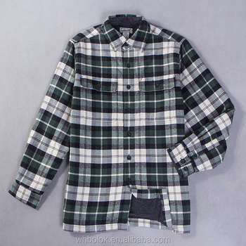 Men's custom flannel shirt with fleece lined winter flannel plaid shirt