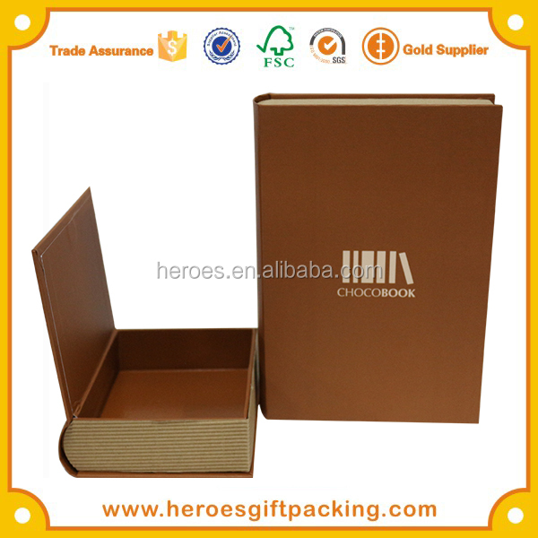 Trade Assurance HG Chocolate Packaging Book Shade Paper Box Round Spine Magnetic Clamshell Book Paper Box