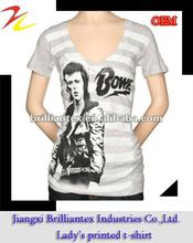 2012 new design breathable cool high quality music star stripes printing ladies t-shirt