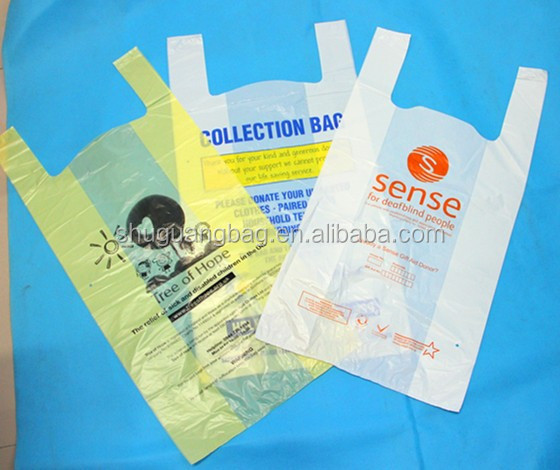 Factory manufacture custom printed plastic charity bag for sale