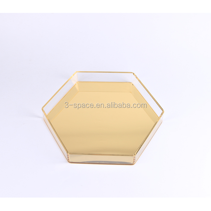 hexagon shape oem decorative mirror acrylic serving tray for gift
