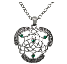 Pewter knote Dream Cather Green Crystal Pendant Link Chain Necklace,Religious Necklace