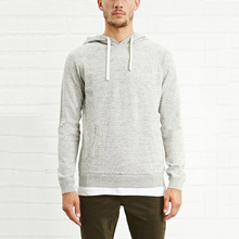 High quality long sleeve front pocket casual grey plain thick hoodies