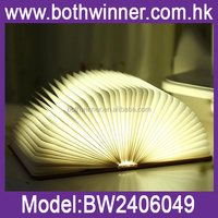 CH084 rechargeable led book style desk table folding lamp light white with usb charger
