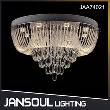 JANSOUL luxury beaded flush mount round crystal chandelier ceiling light for hotel