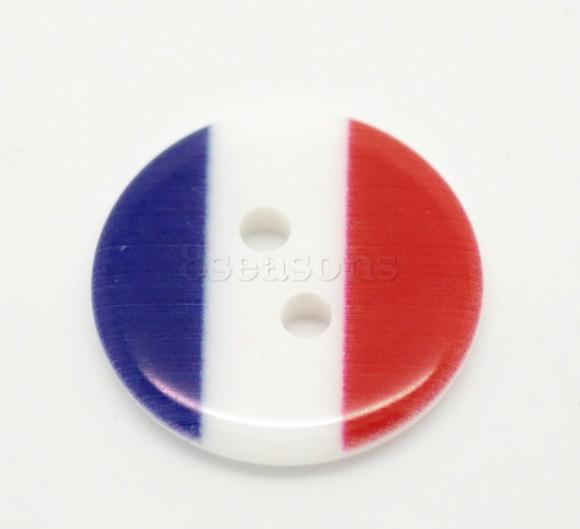 Fancy 18mm French Flag Round Multicolor Two Holes Resin Button for Clothing