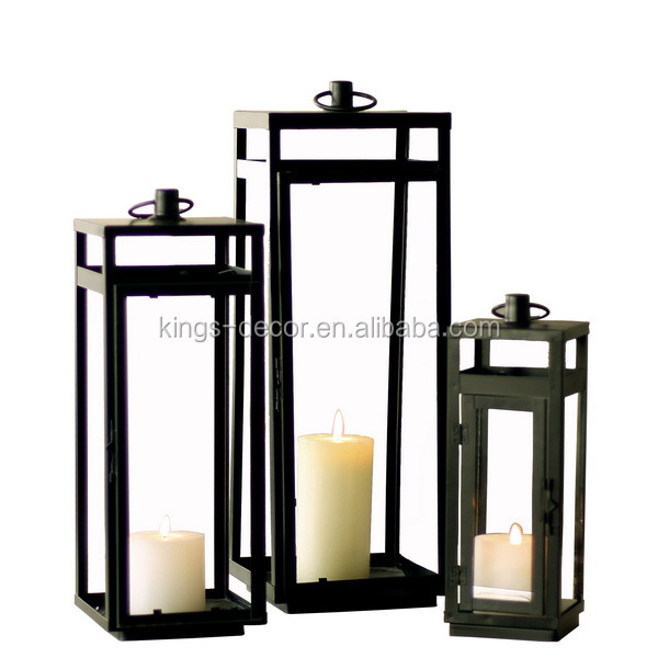 Square black metal candle lantern