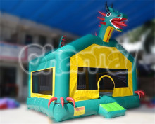 Dark Green Inflatable Dragon Bouncer, Inflatable Jumping Bouncer