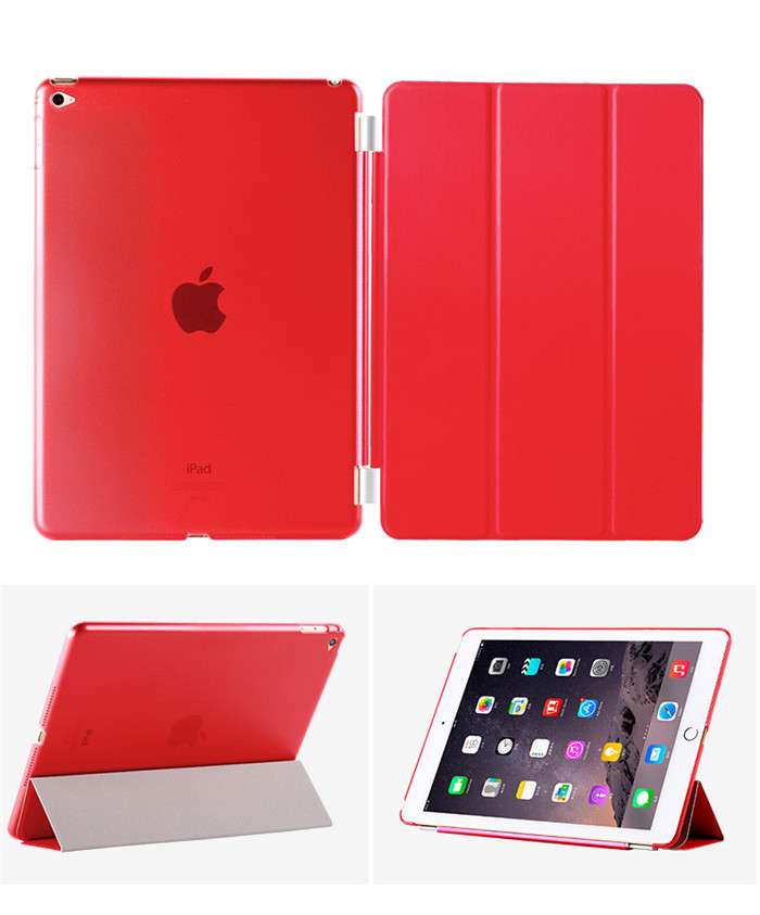 50Pcs High quality PU Leather Protective front Smart Cover+ 50pcs Matte Hard Back Case For IPAD AIR 2 IPAD 6 Multi-Colors