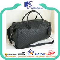 Wellpromotion high quality quilt pu leather travel bag with trolley