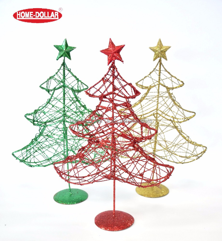 New design wholesale mini christmas artificial colorful glitter wire series med tree for christmas decoration
