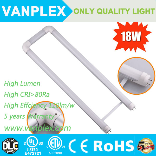 US most popular 600mm 18W ETL DLC listed U shape led tube t8 u bend promotional price