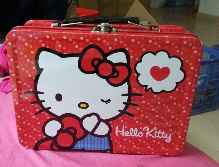 Wholesales custom design metal kids Lunch box with lock and plastic handle