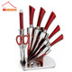bass stainless-steel knife set, super 6pcs stainless steel kitchen knife set with acrylic stand, knife set stainless steel