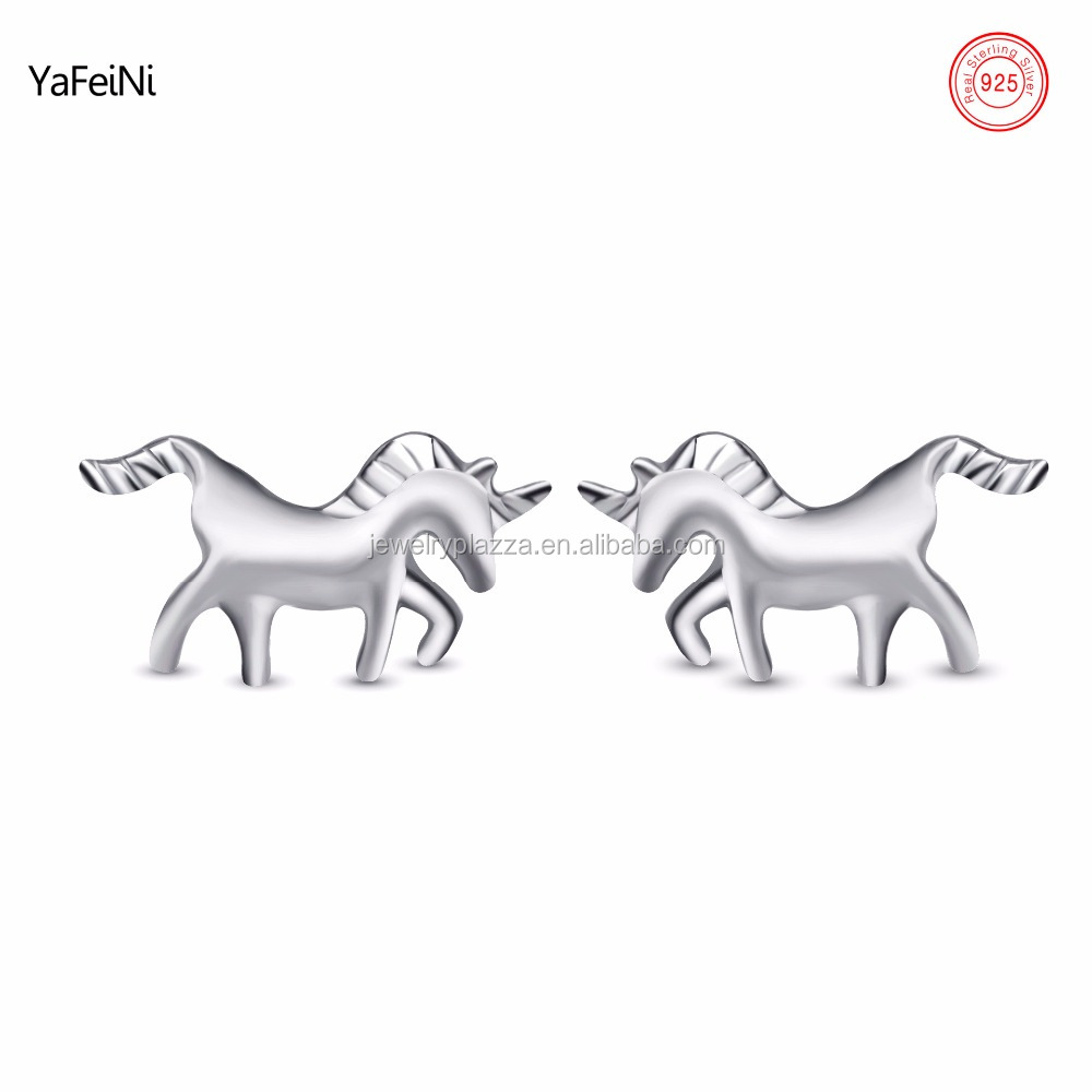 Rhodium Plated 925 Sterling Silver Unicorn Stud Earrings Silver Jewelry Wholesale