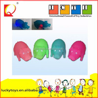 Two-color flashing pet animal shape vinyl toy with squealing pig shape