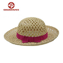 Summer kids girls straw boater hat with bowknot