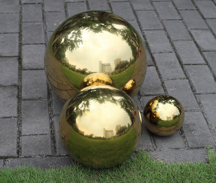 250mm garden stainless steel balls stainless steel hollow ball GOLD COLOR