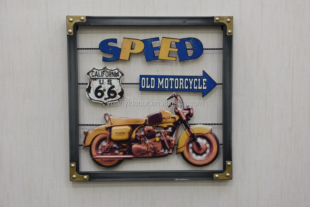 new antique motorcycle embossed metal wall plaque tin sign for wall decor buy vintage metal. Black Bedroom Furniture Sets. Home Design Ideas