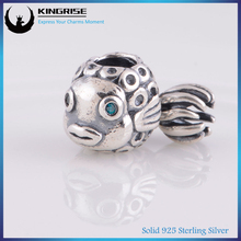 Kingrise High Quality Custom made charms wholesale uk fish silver charm pendant beads