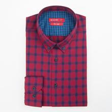 Luthai 100% cotton long sleeve men's casual check shirt stock with slim fit cotton men shirt
