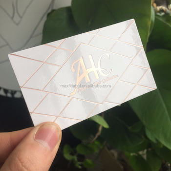 2017 Customized Rose Gold Foil Embossing Color Edge Business Card Printing