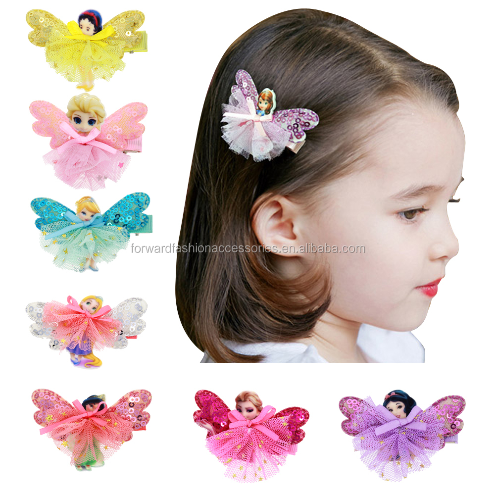 10 Pcs Cute Cartoon Princess <strong>Hair</strong> Clip Baby Mini Lace Dress Hairpins Kids Sequin <strong>Hair</strong> <strong>Accessories</strong>