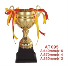 Custom metal gold plated plastic bottom world cup trophy
