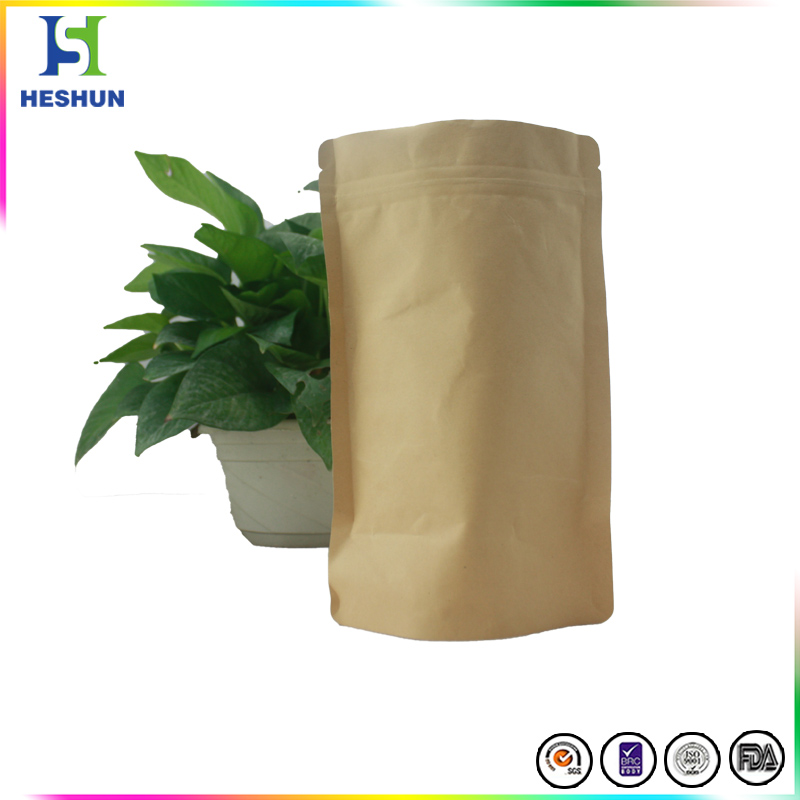 Top Grade Standing up Resealable Heat Sealed Aluminum Foil Brown Kraft Paper Bags for Food